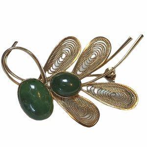 Vintage Swoboda Art Nouveau Genuine Jade Brooch